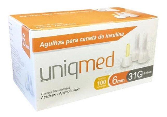 Agulha Para Caneta De Insulina 6mm 31g Com 100un - Uniqmed