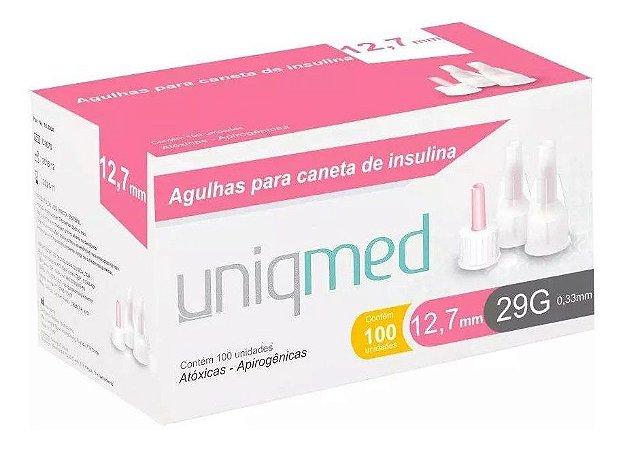 Agulha Para Caneta De Insulina 12,7mm 29g Com 100un Uniqmed