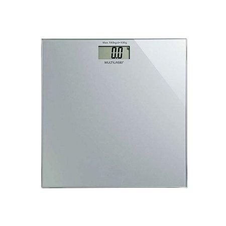 Balança Digital Vidro Temperado 180kg Multilaser - Prata