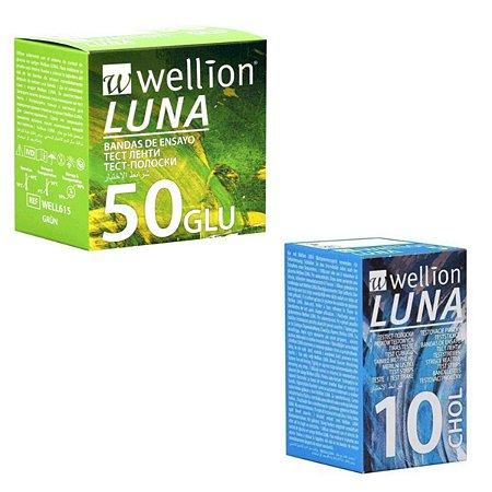 50 Tiras Glicose + 10 Tiras Colesterol Wellion Luna Duo
