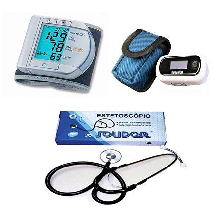 Kit Aparelho De Pressão Digital + Oximetro + Estetoscópio simples