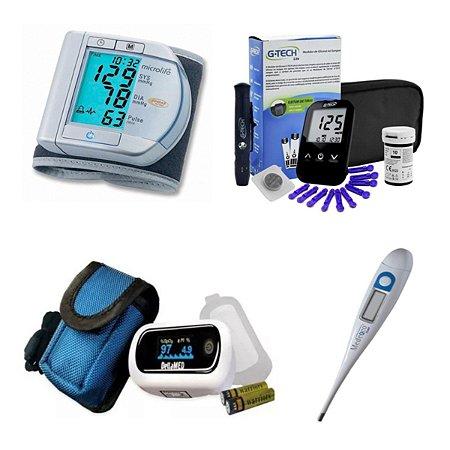 Kit Glicose Aparelho De Pressão Digital Oximetro Termometro