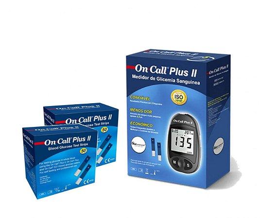 Aparelho De Glicemia Com 100 Tiras On Call Plus Plus Ii