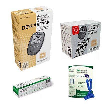 Aparelho Glicose Medidor Descarpack 100 Tiras 100 Lancetas