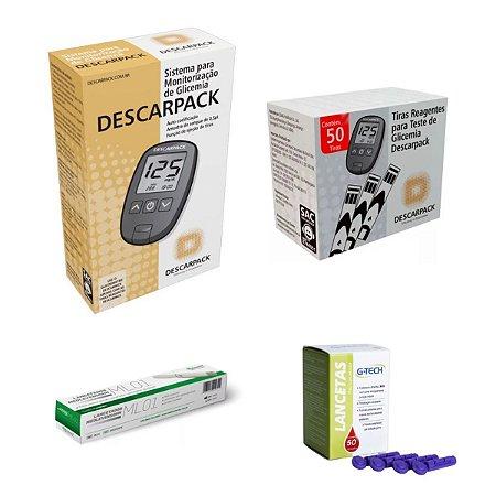 Aparelho Glicose Medidor Descarpack 50 Tiras 50 Lancetas