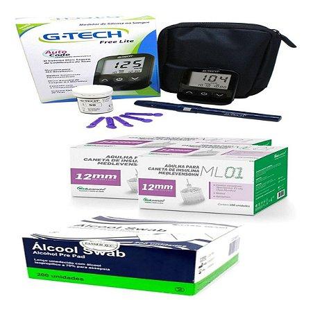 Kit Glicemia Completo Agulha De Insulina 12mm Alcool Labor 200un