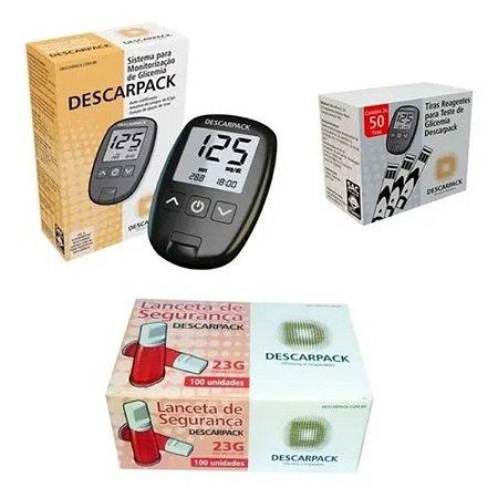 Kit Monitor Glicemia Descarpack 100 Tiras 100 Auto Lancetas