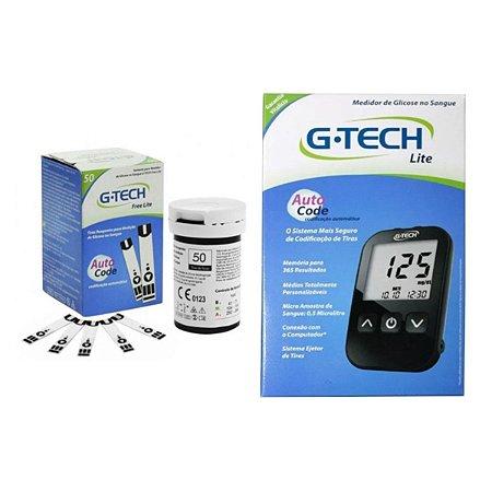 200 Tiras Reagentes G-tech Lite Teste De Glicemia + Aparelho