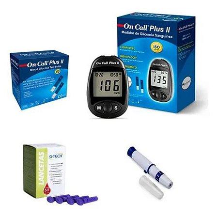 Aparelho De Glicemia Com 50 Tiras On Call Plus Plus II 50 Lancetas e Lancetador