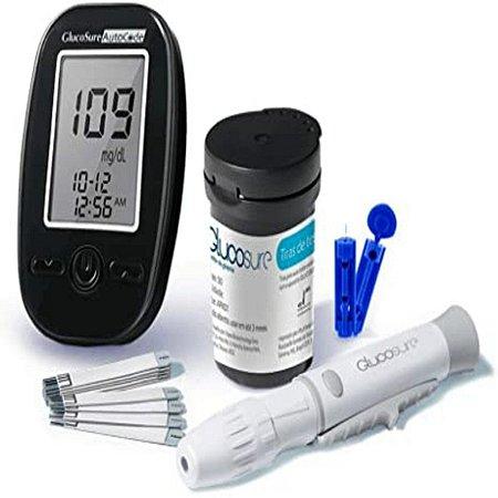 Kit Monitor De Glicemia Glucosure Autocode 60 Tiras Reagentes