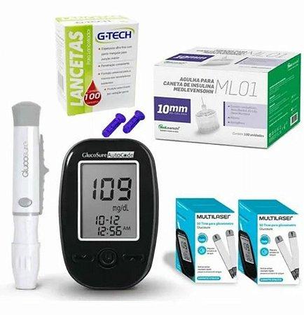 Kit Completo Glicemia Glucosure 110 Tiras 100 Agulhas 10mm