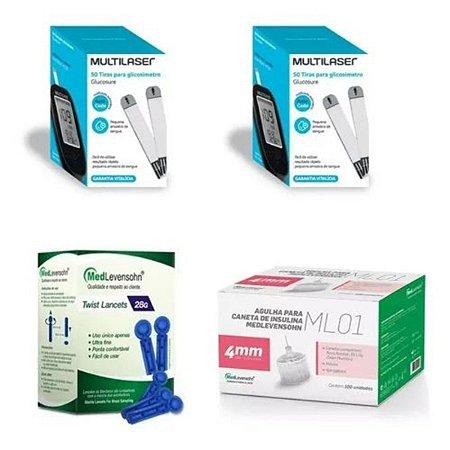 KIT- 100 TIRAS PARA MONITOR DE GLICEMIA + 100 Agulhas  Lancetas  28g + 100 Agulha 4mm P/ Caneta De Insulina