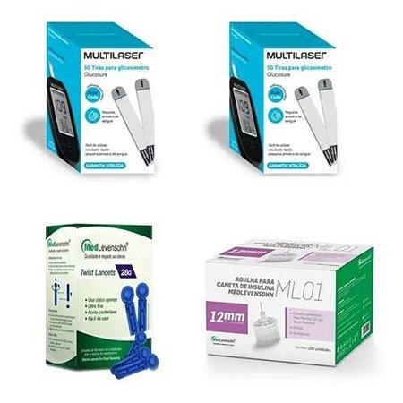 KIT- 100 TIRAS PARA MONITOR DE GLICEMIA + 100 Agulhas  Lancetas  28g + 100 Agulha 12mm P/ Caneta De Insulina