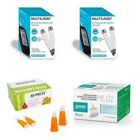 KIT- 100 TIRAS PARA MONITOR DE GLICEMIA + 100 Agulhas  Lancetas  28g + 100 Agulhas 5mm P/ Caneta De Insulina