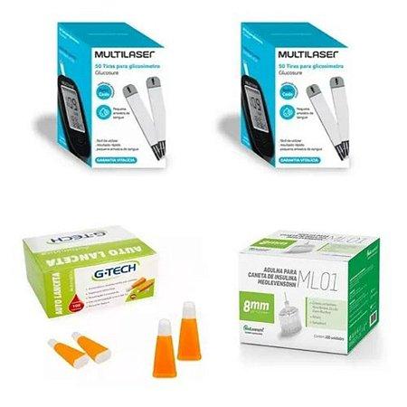 KIT- 100 TIRAS PARA MONITOR DE GLICEMIA + 100 Agulhas  Lancetas  28g + 100 Agulhas 8mm P/ Caneta De Insulina
