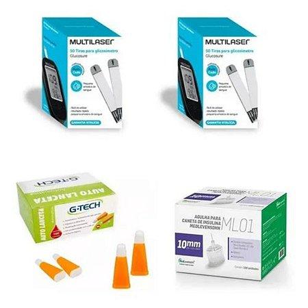 KIT- 100 TIRAS PARA MONITOR DE GLICEMIA + 100 Agulhas  Lancetas  28g + 100 Agulhas 10mm P/ Caneta De Insulina