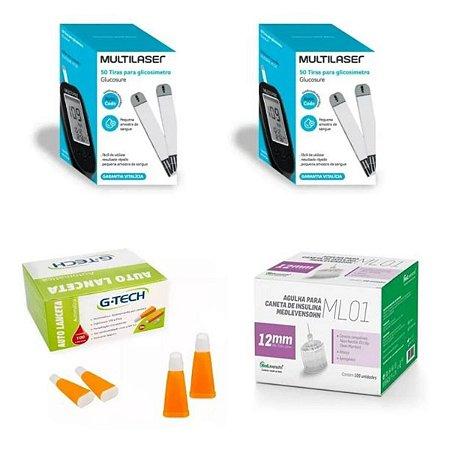KIT- 100 TIRAS PARA MONITOR DE GLICEMIA + 100 Agulhas  Lancetas  28g + 100 Agulhas 12mm P/ Caneta De Insulina