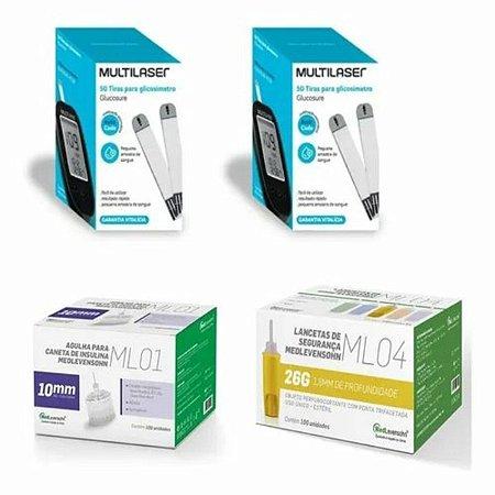 KIT- 100 TIRAS PARA MONITOR DE GLICEMIA + 100 Lancetas De Segurança Ml04 26g + 100 Agulhas 10mm P/ Caneta De Insulina