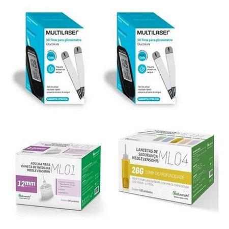KIT- 100 TIRAS PARA MONITOR DE GLICEMIA + 100 Lancetas De Segurança Ml04 26g + 100 Agulhas 12mm P/ Caneta De Insulina
