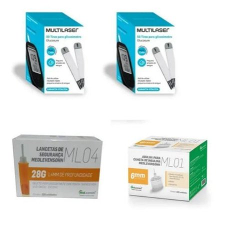 KIT- 100 TIRAS PARA MONITOR DE GLICEMIA + 100 Lancetas De Segurança Ml04 28g + 100 Agulhas 6mm P/ Caneta De Insulina