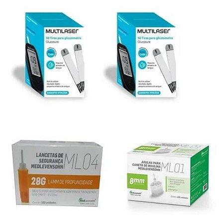 KIT- 100 TIRAS PARA MONITOR DE GLICEMIA + 100 Lancetas De Segurança Ml04 28g + 100 Agulhas 8mm P/ Caneta De Insulina