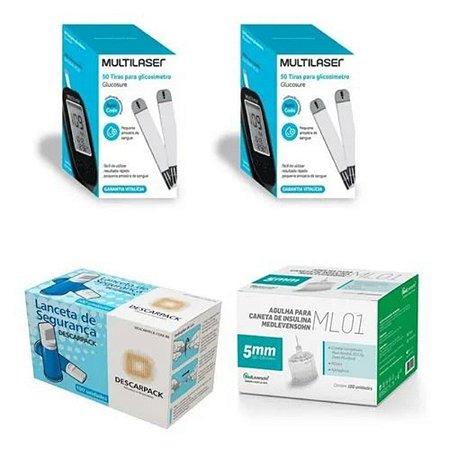 KIT- 100 TIRAS PARA MONITOR DE GLICEMIA + 100 Auto Lancetas De Segurança Aut. + 100 Agulhas 5mm P/ Caneta De Insulina