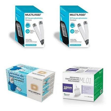 KIT- 100 TIRAS PARA MONITOR DE GLICEMIA + 100 Auto Lancetas De Segurança Aut. + 100 Agulhas 10mm P/ Caneta De Insulina