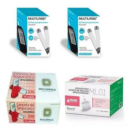 KIT- 100 TIRAS PARA MONITOR DE GLICEMIA + 100 Lancetas De Segurança Aut. 23g + 100 Agulhas 4mm P/ Caneta De Insul