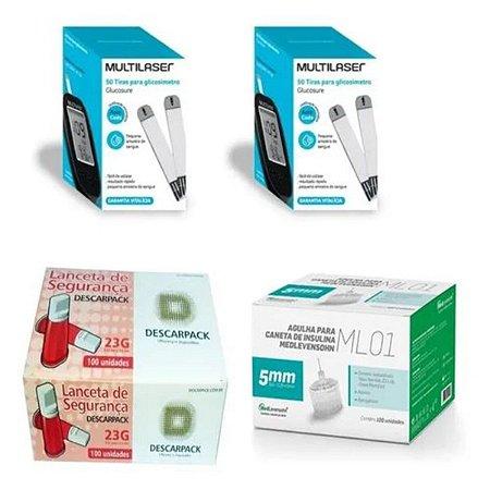 KIT- 100 TIRAS PARA MONITOR DE GLICEMIA + 100 Lancetas De Segurança Aut. + 100 Agulhas 5mm P/ Caneta De Insulina