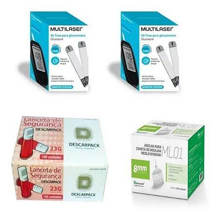 KIT- 100 TIRAS PARA MONITOR DE GLICEMIA + 100 Lancetas De Segurança Aut. + 100 Agulhas 8mm P/ Caneta De Insulina