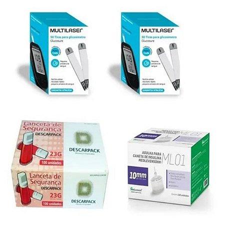 KIT- 100 TIRAS PARA MONITOR DE GLICEMIA + 100 Lancetas De Segurança Aut. + 100 Agulhas 10mm P/ Caneta De Insulina