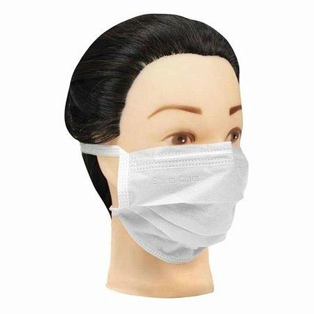 Máscara Facial Descartável Branca Não Tecido Com Tira 100 Un