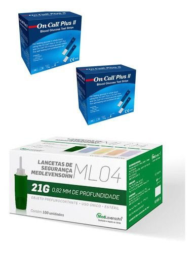 100 Tiras Glicemia On Call Plus Il + 100 Auto Lancetas 21g