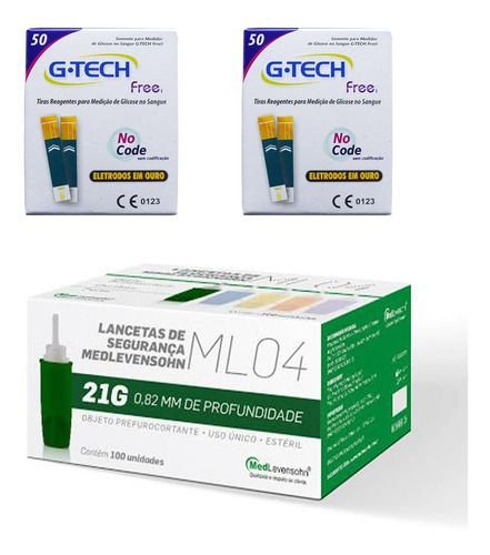 100 Tiras Reagentes G-tech Free1 + 100 Auto Lancetas 21g