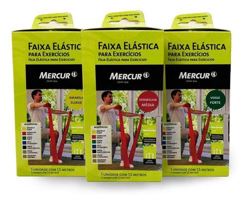 Kit 03 Faixas Elástica Exercícios Amarela/ Vermelha/ Verde - Mercur