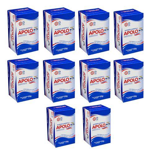 Kit com 10 Caixas de Algodão Hidrófilo Apolo Caixa 50g