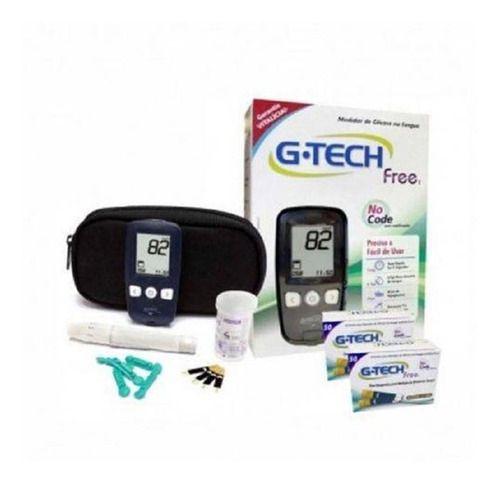 Kit Completo Medidor De Glicose G-tech Free1 Com 110 Tiras