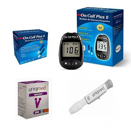 Aparelho De Glicemia Com 50 Tiras On Call Plus Plus II + 50 Lancetas + Lancetador Uniqmed
