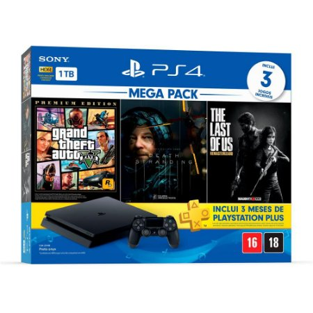 Console Playstation 4 Slim 1TB Bundle 9 + Grand Theft Auto V Premium Ed. + Death Stranding + The Last of Us Remasterizado + 3 Meses Playstation Plus