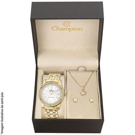 Relógio Champion Feminino CN27287W + Brincos e Colar