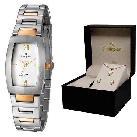 Relógio Champion Feminino CA29975W + Conjunto de Brincos e Colar