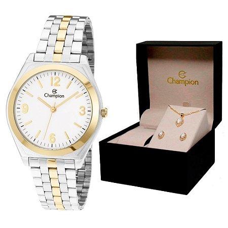Relógio Champion Feminino CH22313D + Conjunto De Brincos e Colar