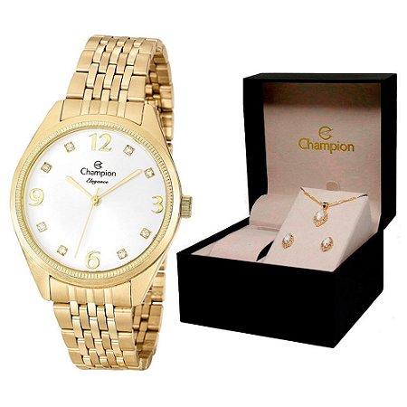 Relógio Champion Feminino CN26251W + Conjunto De Brincos e Colar