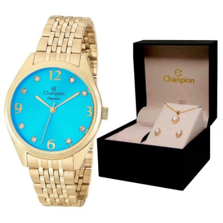 Relógio Champion Feminino CN26251Y + Conjunto De Brincos e Colar
