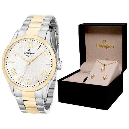 Relógio Champion Feminino CN27796D + Conjunto De Brincos e Colar