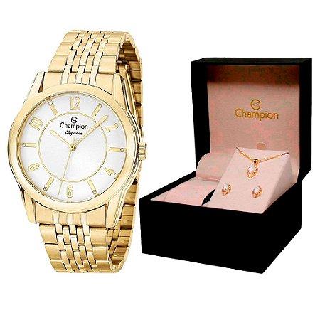 Relógio Champion Feminino CN26233W + Conjunto De Brincos e Colar