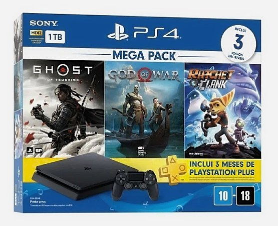 Console Playstation 4 Slim 1tb Mega Pack 18 Com 3 Jogos