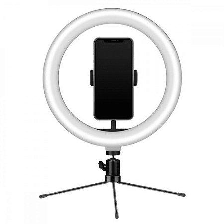 Ring Light USB Tripe 18cm Iluminador e Suporte Smartphone(MFVS-RLT20/BK)