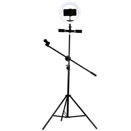 Ring Light USB Tripe 210cm Iluminador e Suporte Smartphone(MFVS-RLT210/BK)