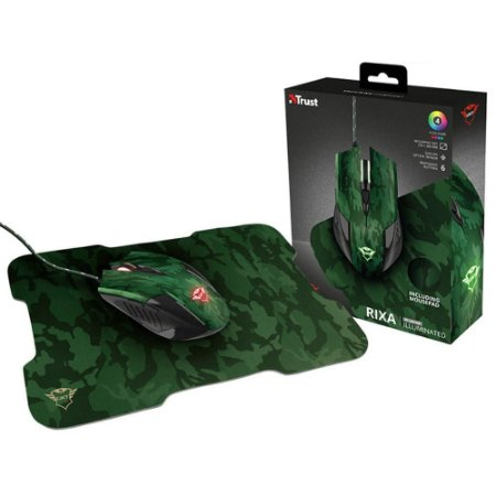 Mouse 23611 GXT-781 Rixa Camo Verde Camuflado 3200DPI USB C/Mouse Pad